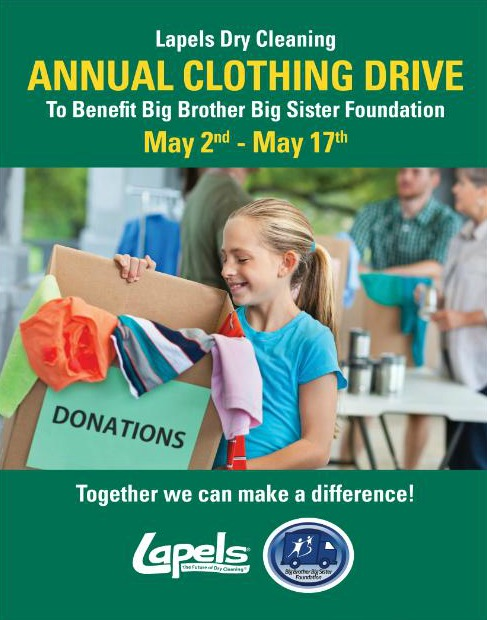 7 states to weigh in on Lapels Dry Cleaning Annual Clothing Drive to benefit Big Brother/Big Sister, May 2 – May 17