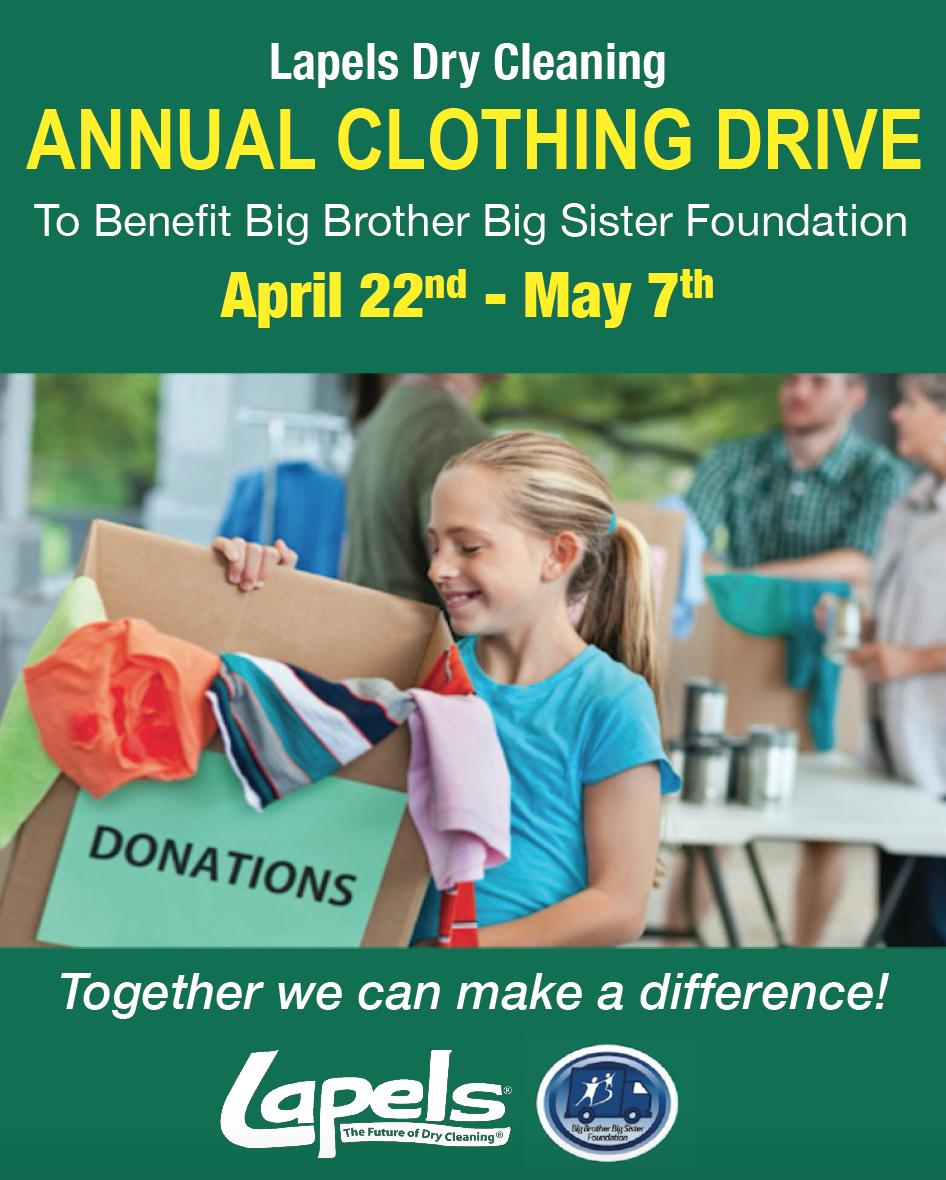 Lapels Annual Clothing Drive April 22nd – May 7th