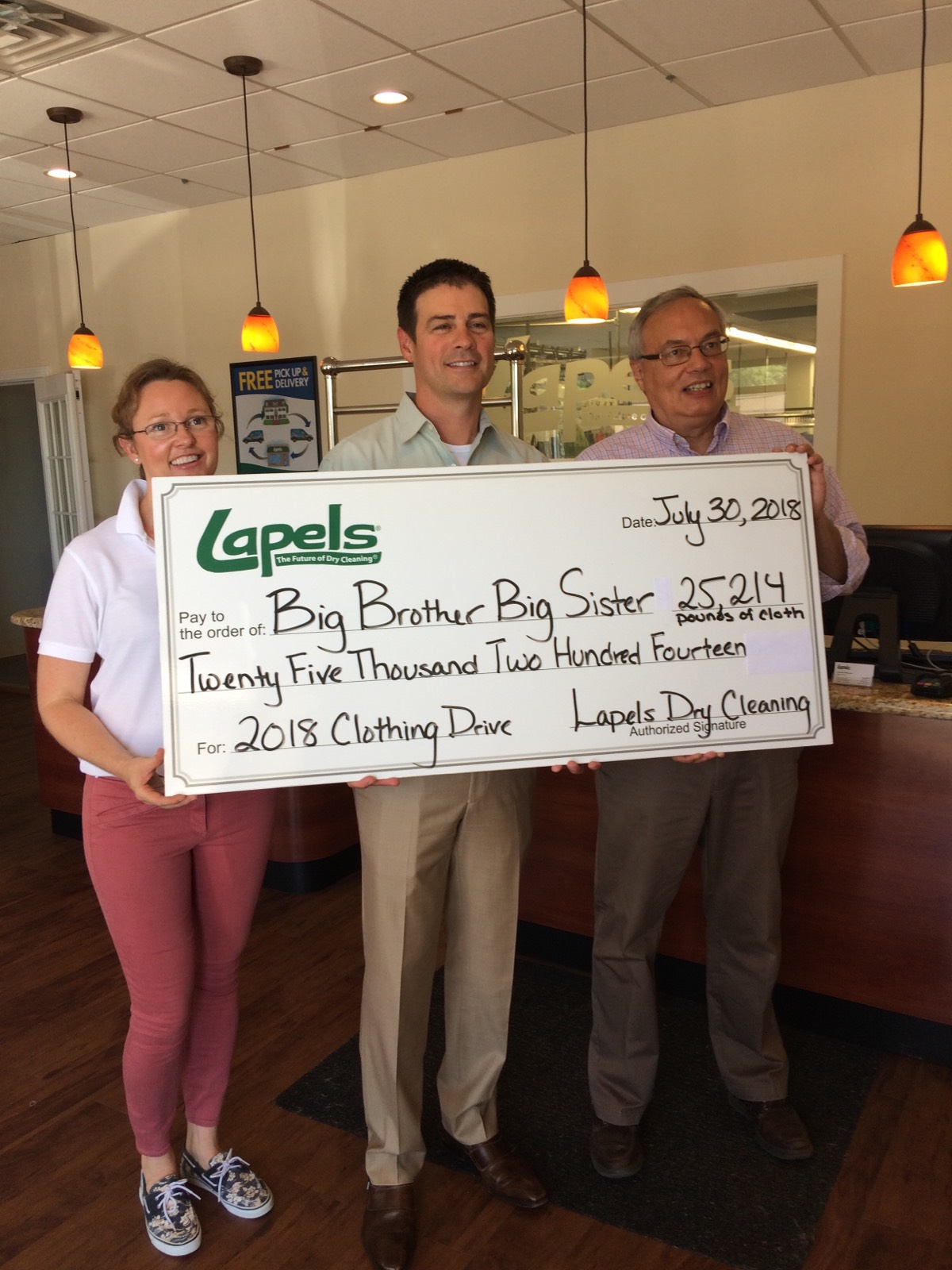 Lapels Dry Cleaning 15th annual clothing drive to benefit Big Brother Big Sister generates more than 25,000 pounds of clothes