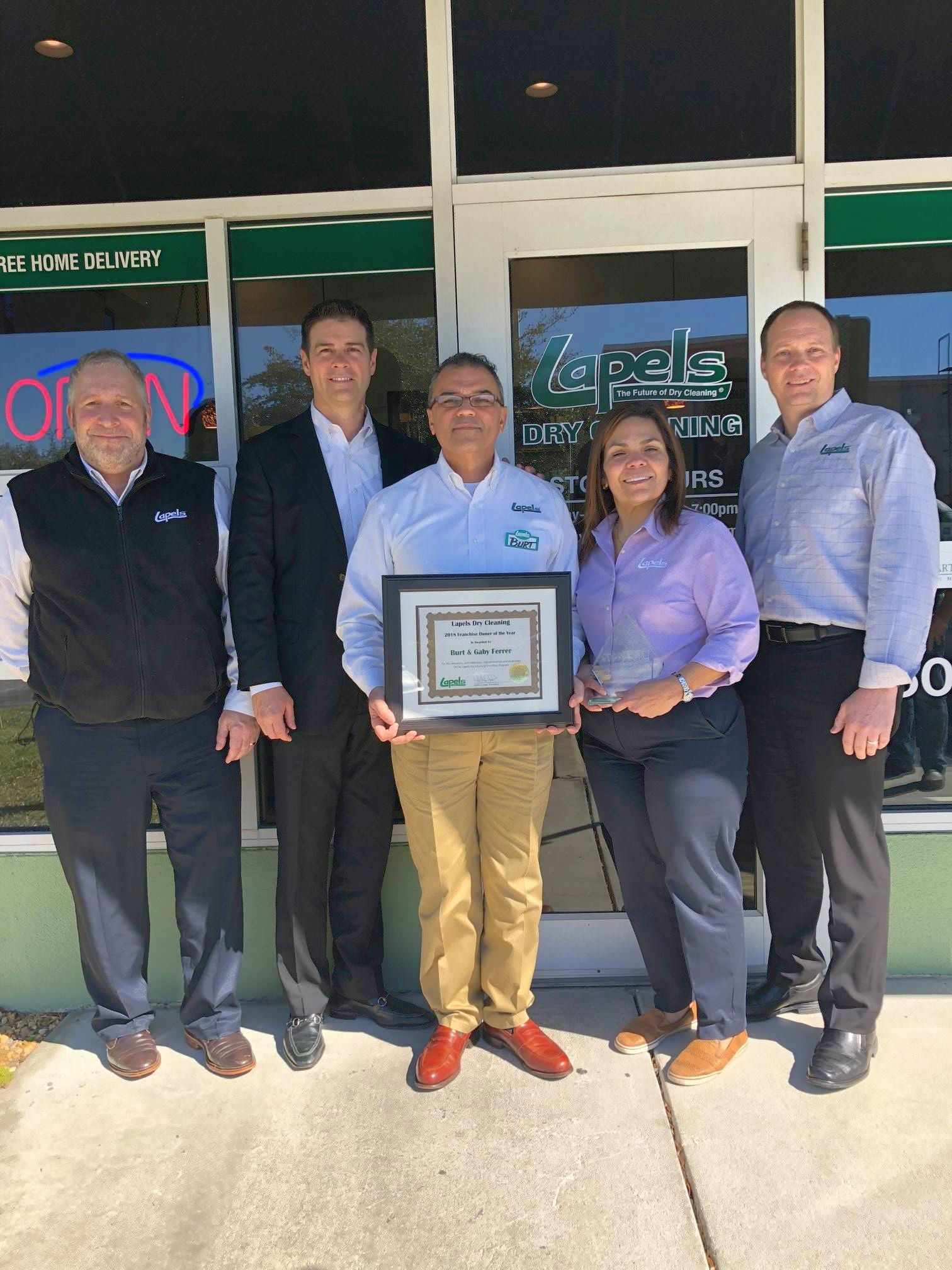 Burt Ferrer named Lapels Dry Cleaning Franchise Owner of the Year